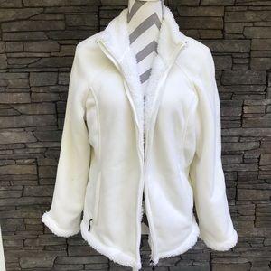 Warm Fleece Green Tea White Sherpa jacket